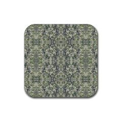 Modern Noveau Floral Collage Pattern Rubber Square Coaster (4 Pack)  by dflcprints