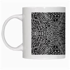 Black And White Psychedelic Pattern White Mugs by goodart