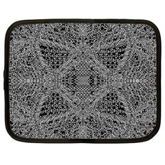 Black And White Psychedelic Pattern Netbook Case (xl)  by goodart