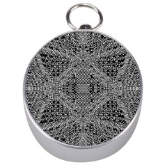 Black And White Psychedelic Pattern Silver Compasses by goodart