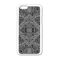 Black And White Psychedelic Pattern Apple Iphone 6/6s White Enamel Case by goodart