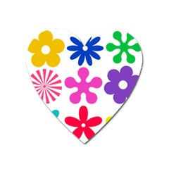 Retro Flower Ornaments Heart Magnet by goodart
