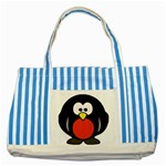 Tux Linux Hacker custom Striped Blue Tote Bag