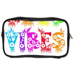 Good Vibes Rainbow Floral Typography Toiletries Bags 2 Side by yoursparklingshop