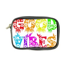 Good Vibes Rainbow Colors Funny Floral Typography Coin Purse by yoursparklingshop