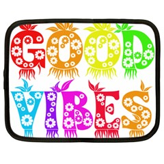 Good Vibes Rainbow Colors Funny Floral Typography Netbook Case (xxl)  by yoursparklingshop