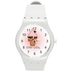 Stay Cool Round Plastic Sport Watch (m) by ZephyyrDesigns