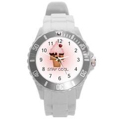 Stay Cool Round Plastic Sport Watch (l) by ZephyyrDesigns