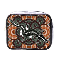 Illustration Based On Aboriginal Style Of Dot Painting Depicting Crocodile Mini Toiletries Bags by goodart