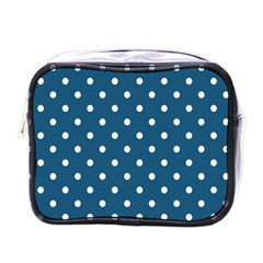 White Dot Patern Blue Mini Toiletries Bags by goodart
