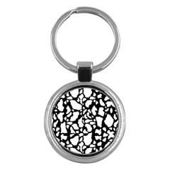 Black White Cow Print Key Chains (round)  by LoolyElzayat