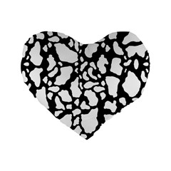 Black White Cow Print Standard 16  Premium Heart Shape Cushions