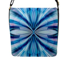 Abstract Blue Flap Messenger Bag (l)