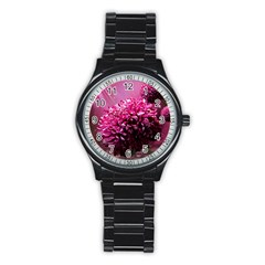 Majestic Flowers Stainless Steel Round Watch