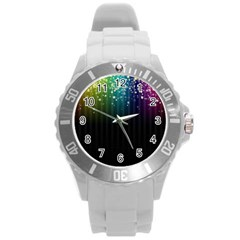Colorful Space Rainbow Stars Round Plastic Sport Watch (l)