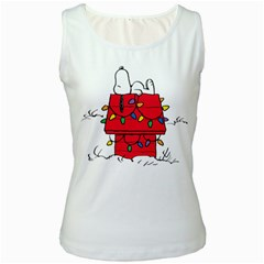 Peanuts Snoopy Women s White Tank Top