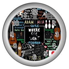Book Quote Collage Wall Clocks (silver)