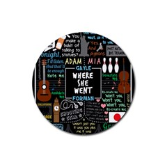 Book Quote Collage Rubber Round Coaster (4 Pack)