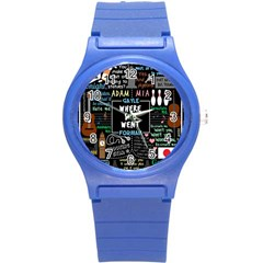 Book Quote Collage Round Plastic Sport Watch (s)