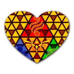 The Triforce Stained Glass Heart Mousepads
