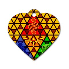 The Triforce Stained Glass Dog Tag Heart (two Sides)