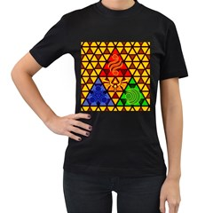 The Triforce Stained Glass Women s T Shirt (black)