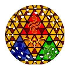 The Triforce Stained Glass Ornament (round Filigree)