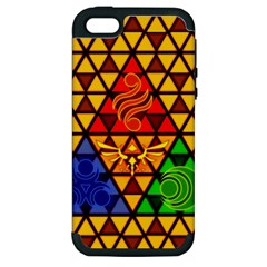 The Triforce Stained Glass Apple Iphone 5 Hardshell Case (pc+silicone)
