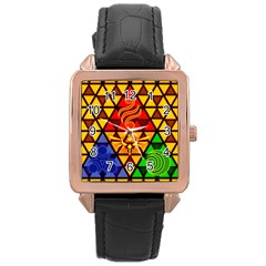 The Triforce Stained Glass Rose Gold Leather Watch