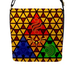 The Triforce Stained Glass Flap Messenger Bag (l)