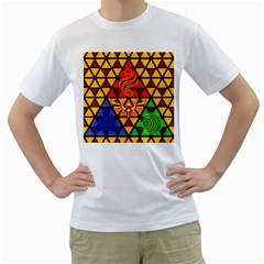 The Triforce Stained Glass Men s T Shirt (white)