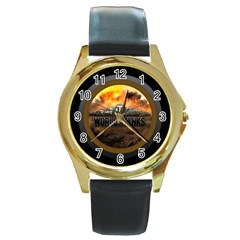 World Of Tanks Wot Round Gold Metal Watch