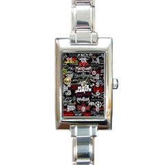Metal Bands College Rectangle Italian Charm Watch