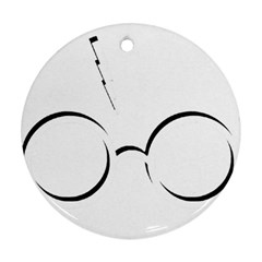 Harry Potter Inspired Lightning Glasses Symbol Round Ornament (two Sides)