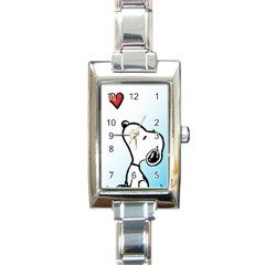 Snoopy Love Rectangle Italian Charm Watch