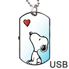 Snoopy Love Dog Tag Usb Flash (two Sides)
