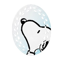 Snoopy Love Oval Filigree Ornament (two Sides)