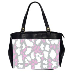 Pink Grey White Cow Print Office Handbags (2 Sides)