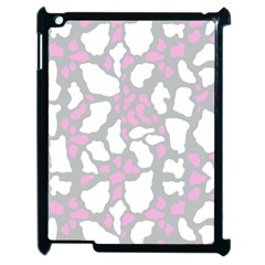 Pink Grey White Cow Print Apple Ipad 2 Case (black) by LoolyElzayat