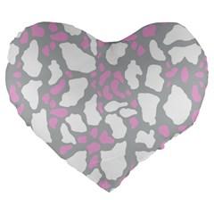 Pink Grey White Cow Print Large 19  Premium Heart Shape Cushions