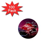 Coca Cola Drinks Logo On Galaxy Nebula 1  Mini Buttons (100 Pack)