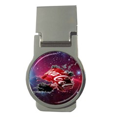Coca Cola Drinks Logo On Galaxy Nebula Money Clips (round)