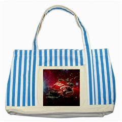 Coca Cola Drinks Logo On Galaxy Nebula Striped Blue Tote Bag