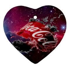 Coca Cola Drinks Logo On Galaxy Nebula Heart Ornament (two Sides)