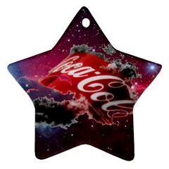 Coca Cola Drinks Logo On Galaxy Nebula Star Ornament (two Sides)