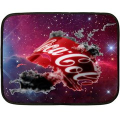 Coca Cola Drinks Logo On Galaxy Nebula Double Sided Fleece Blanket (mini)