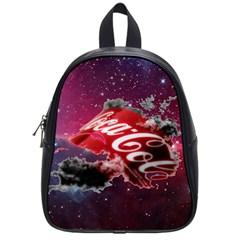 Coca Cola Drinks Logo On Galaxy Nebula School Bag (small) by Samandel