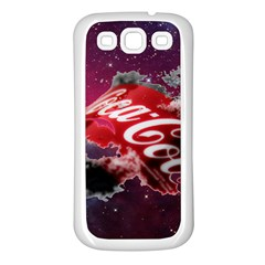 Coca Cola Drinks Logo On Galaxy Nebula Samsung Galaxy S3 Back Case (white)