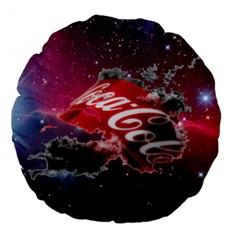 Coca Cola Drinks Logo On Galaxy Nebula Large 18  Premium Flano Round Cushions by Samandel