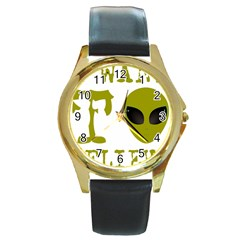 I Want To Believe Round Gold Metal Watch